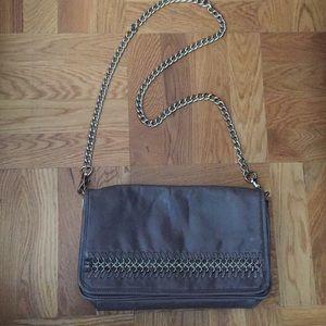 BADGLEY MISCHKA Gray Leather Flap Clutch/Crossbody